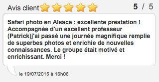 Avis client Safari photo en Alsace : excellente prestation !
